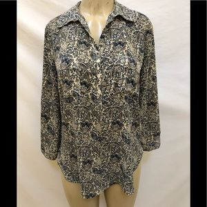 Pleione half button down 3/4 sleeve blouse size S